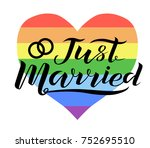 hand drawn just married... | Shutterstock .eps vector #752695510