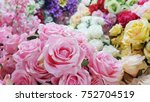 many pink roses made by fabric...   Shutterstock . vector #752704519