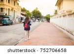young woman traveler wearing... | Shutterstock . vector #752706658