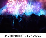 colorful fireworks and crowd... | Shutterstock . vector #752714920