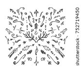 vector hand drawn decor... | Shutterstock .eps vector #752719450
