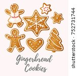 vector set of gingerbread... | Shutterstock .eps vector #752731744