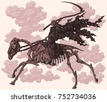 death with a scythe rides on a... | Shutterstock .eps vector #752734036
