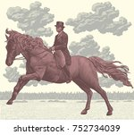 jockey on horseback. hand drawn ... | Shutterstock .eps vector #752734039