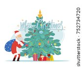 santa claus and christmas tree. ... | Shutterstock .eps vector #752734720