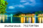 row of tourist bungalows along... | Shutterstock . vector #752739784
