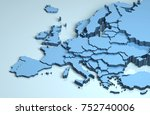 europe 3d map | Shutterstock . vector #752740006