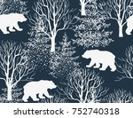Beautiful hand drawn seamless pattern,  background with bear, winter forest landscape. | Shutterstock vector #752740318