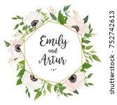 wedding invite  invitation ... | Shutterstock .eps vector #752742613