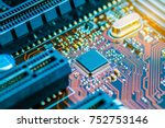cpu chipset on printed circuit... | Shutterstock . vector #752753146