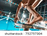 bottom view of swimmer jumping... | Shutterstock . vector #752757304