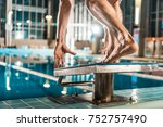 cropped view of swimmer... | Shutterstock . vector #752757490