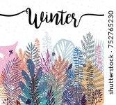 Stock vector trendy winter leaves background vector botanical illustration great design element for 752765230