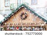 christmas fair drawing snowfall ...   Shutterstock . vector #752773000