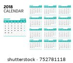 2018 calendar vector design | Shutterstock .eps vector #752781118