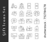 simple set of gifts related... | Shutterstock .eps vector #752784178