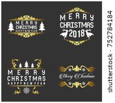 merry christmas typography for... | Shutterstock .eps vector #752784184