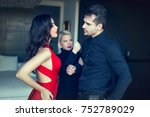 angry woman threatens disloyal...   Shutterstock . vector #752789029