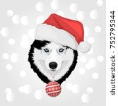 dog portrait in a red santa's... | Shutterstock .eps vector #752795344