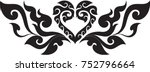 swirl tribal doodle heart with... | Shutterstock .eps vector #752796664