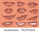 lips. design set. hand drawn... | Shutterstock .eps vector #752797624