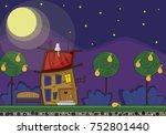 horizontal illustration of cute ... | Shutterstock . vector #752801440