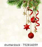 christmas background with green ... | Shutterstock . vector #752816059