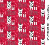 holidays seamless pattern with... | Shutterstock .eps vector #752828533