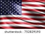 america flag of silk 3d...   Shutterstock . vector #752829193