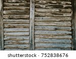 Wood Logs Wall Of Rural House...