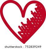 red heart valentine love logo...   Shutterstock .eps vector #752839249