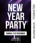 new year party poster vector...   Shutterstock .eps vector #752842783