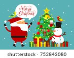 flat style christmas greeting...   Shutterstock .eps vector #752843080