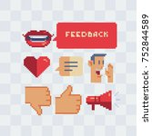feedback icons set. smiling... | Shutterstock .eps vector #752844589