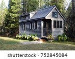 off grid tiny house in the... | Shutterstock . vector #752845084