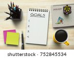 new year goals  resolutions or...   Shutterstock . vector #752845534