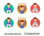customer reviews  flat rating... | Shutterstock .eps vector #752860939
