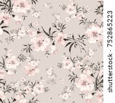 floral watercolor background a... | Shutterstock . vector #752865223