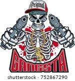 gangster skeleton pointing  guns | Shutterstock .eps vector #752867290