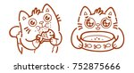 cute cat  eating food  meal ... | Shutterstock .eps vector #752875666