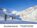 ski touring in winter alpine... | Shutterstock . vector #752876530