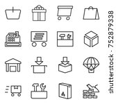 thin line icon set   basket ... | Shutterstock .eps vector #752879338