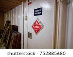 carpenter workshop door | Shutterstock . vector #752885680