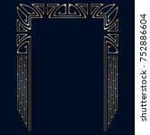 art deco golden frame with...   Shutterstock . vector #752886604