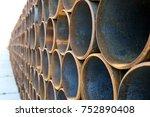 metal pipes in storage   Shutterstock . vector #752890408