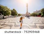 woman tourist walking on the...   Shutterstock . vector #752905468