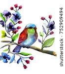 watercolor bird on branch. hand ... | Shutterstock . vector #752909494