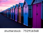 A Row Of 30 Beach Huts  All...