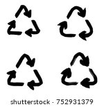 hand drawn recycle symbol ... | Shutterstock .eps vector #752931379