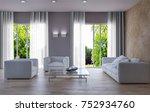 modern bright interiors. 3d... | Shutterstock . vector #752934760